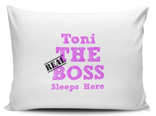 Personalised The Real Boss Sleeps Here Pillow Case - Pink